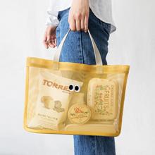 网眼包qu020新品ng透气沙网手提包沙滩泳旅行大容量收纳拎袋包