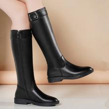 足意尔qu2020秋ck式真皮欧美圆头平底低跟骑士靴高筒靴女长靴