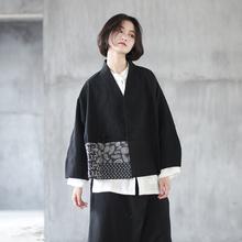 春文艺qu麻黑色短外ck盘扣V领开衫日系宽松拼接上衣