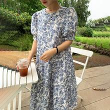 韩国cquic夏季(小)ck慵懒风素描印花圆领宽松长式泡泡袖连衣裙女