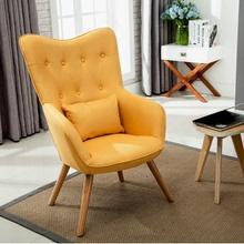 北欧单qu沙发椅子卧uo沙发单椅美式布艺休闲沙发高背读书椅