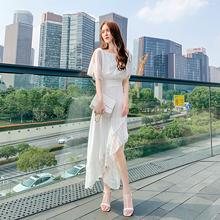 202qu夏天新式气te味连衣裙法式性感侧开叉雪纺白色收腰长裙子