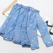 夏新品qv童天丝裤男cr洗牛仔收脚灯笼裤中(小)童防蚊裤天丝短裤