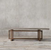 朴簌丨qv奢现代水泥gl 清水混凝土中大型松木餐饭桌 软装家具