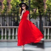 香衣丽qv新式气质优jw显瘦波西米亚大码女装雪纺大摆连衣长裙