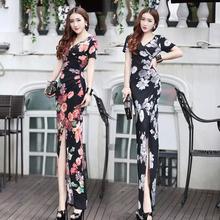 201qv新式女装夏syV领修身显瘦包臀高开叉连衣裙时尚印花长裙
