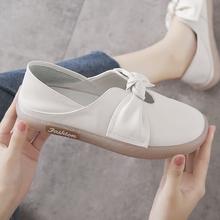 两穿(小)qv鞋女单鞋2wn春式真皮浅口一脚蹬百搭平底舒适软底孕妇鞋