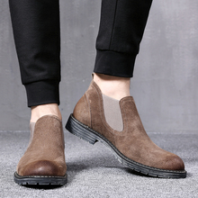 202qw春夏新式英wd切尔西靴真皮加绒反绒磨砂发型师皮鞋高帮潮