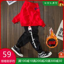 童装加qw宝宝套装男wh宝宝春秋式运动套(小)孩子纯棉韩款两件套