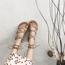 女仙女qwins潮2wh新式学生百搭平底网红交叉绑带沙滩鞋