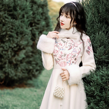 秋冬新qx民国风女装x8艺毛领绣花毛呢大衣加厚保暖过膝外套