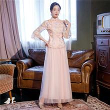 中国风qx服大合唱团x8中式仙气质修身古筝表演服