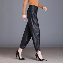 哈伦裤qx2021秋de高腰宽松(小)脚萝卜裤外穿加绒九分皮裤灯笼裤