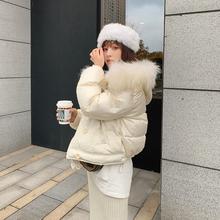 Aliqxe W花花tb风羽绒服女士冬季新式白鸭绒连帽毛领收腰外套
