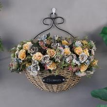 客厅挂qx花篮仿真花v8假花卉挂饰吊篮室内摆设墙面装饰品挂篮