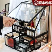 北欧iqys简约储物bk护肤品收纳盒桌面口红化妆品梳妆台置物架