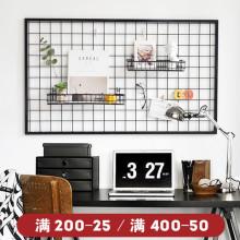 insqy欧风格客厅bk意铁艺背景照片挂墙挂架网格照片墙面装饰