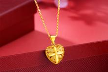 纯黄吊qy女士套链 bk99足金盒子链水波链爱心玫瑰式吊坠