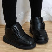 宝宝鞋qy童女童皮鞋sd秋冬2020新式中大童加绒宝宝鞋黑色棉鞋