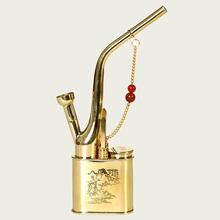 正品烟qy中号水烟筒jj烟斗纯铜老式中国弯式烟袋锅弯头