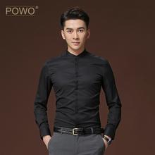 POWqy长袖衬衫男jc时尚(小)立领商务休闲黑色青年寸衣春季新式