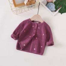 女宝宝qz织开衫洋气gu色毛衣(小)外套春秋装0-1-2岁纯棉婴幼儿