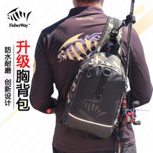 钓影路qz包多功能胸uk外防水包单肩斜挎腰包渔具插背竿包