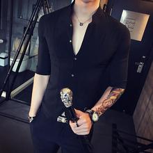 韩款潮qz男短袖寸衫sb气男士衬衣夏季个性潮发型师