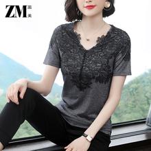 蕾丝女qz恤短袖20bw季新式女装气质显瘦V领体恤半袖宽松大码上衣