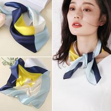 丝巾女r1搭春秋式洋1h薄式夏季(小)方巾真丝搭配衬衫