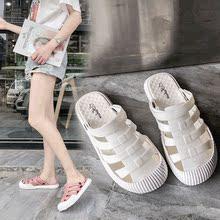 拖鞋女r1外穿2021h式女士凉拖网红包头洞洞半拖鞋沙滩塑料凉鞋