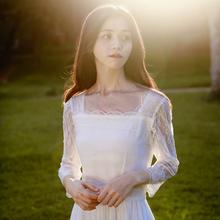 蜜搭 仙r2温柔风白色ec款少女气质显瘦方领连衣裙女春2021新款