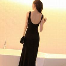 欧美风r80装夏季莫at连衣裙修身打底显瘦背心长裙大码(小)码