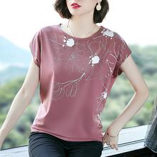 中年女ra新式30-bi妈妈装夏装纯棉宽松上衣服短袖T恤百搭打底衫
