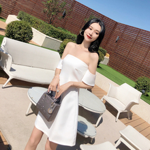 泰国潮ra2021春bi式白色一字领(小)礼裙插肩抹胸A字连衣裙裙子