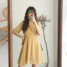 (小)个子ra领黄色印花bi袖雪纺碎花连衣裙女夏2021新式