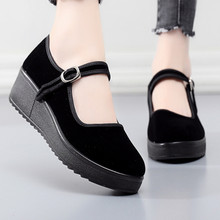 老北京布鞋女鞋新式上班ra8舞软底黑bi工作鞋舒适厚底妈妈鞋