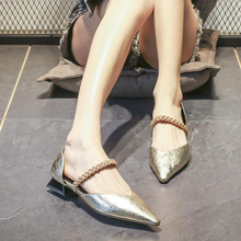 欧洲站ra021夏季bi鞋真皮时尚水钻尖头低跟凉鞋女仙女风百搭潮