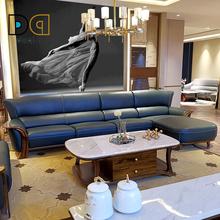 德沁头ra真皮沙发客bi户型转角组合乌金木实木简约现代家具