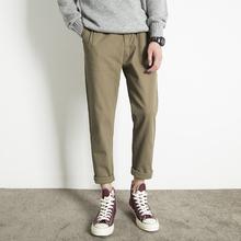 简质男ra秋季新式男bi直筒九分裤学生卡其色纯棉休闲裤男显瘦