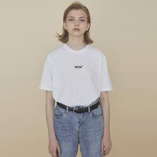 PROraBldg bi计字母印花T恤女宽松短袖白色上衣qlz