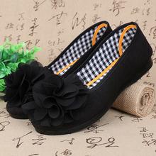 春秋新ra老北京布鞋ox女鞋黑色平底鞋工作鞋酒店工装鞋