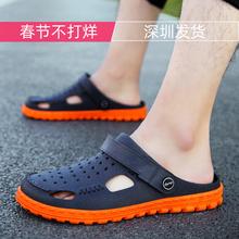 越南天ra橡胶超柔软de闲韩款潮流洞洞鞋旅游乳胶沙滩鞋