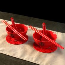 日款喜庆结婚网红色碗ra7瓷碗筷勺de回礼碗婚庆创意高档礼品