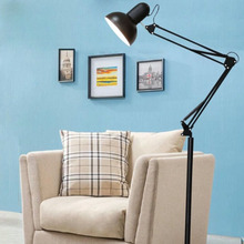 现代折ra铁艺长臂纹ra灯卧室阅读可调光遥控智能立式护眼台灯