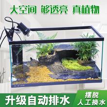 乌龟缸ra晒台乌龟别la龟缸养龟的专用缸免换水鱼缸水陆玻璃缸