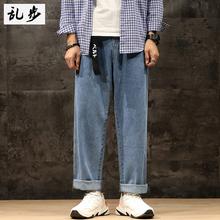 宽松牛ra裤男潮牌秋el性百搭裤子韩款潮流情侣装直筒阔腿长裤