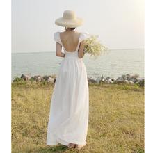 三亚旅ra衣服棉麻度el腰显瘦法式白色复古紧身连衣裙气质裙子