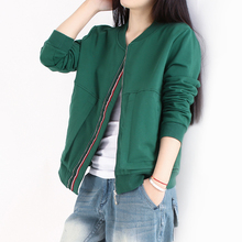 秋装新ra棒球服大码el松运动上衣休闲夹克衫绿色纯棉短外套女