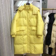 韩国东ra门长式羽绒sa包服加大码200斤冬装宽松显瘦鸭绒外套